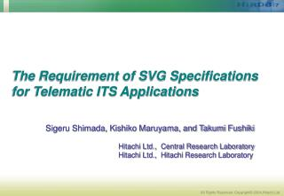 The Requirement of SVG Specifications for Telematic ITS Applications
