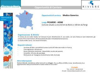 Opportunit� di carriera:     Medico Generico