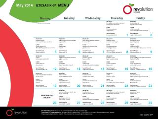 May 2014    ILTEXAS K-8 th MENU
