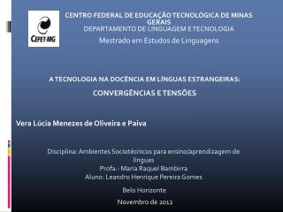 CENTRO FEDERAL DE EDUCAÇÃO TECNOLÓGICA DE MINAS GERAIS DEPARTAMENTO DE LINGUAGEM E TECNOLOGIA