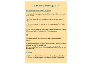 LES BONNES PRATIQUES   1/2 Prévention et réduction à la source