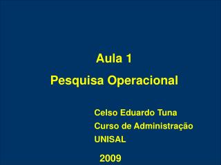 Aula 1 Pesquisa Operacional