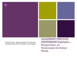 LEADERSHIP THROUGH PARTNERSHIP Highlights – Perspectives  on Governance for School Heads