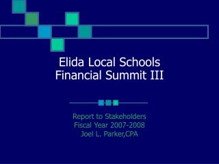 Elida Local Schools Financial Summit III