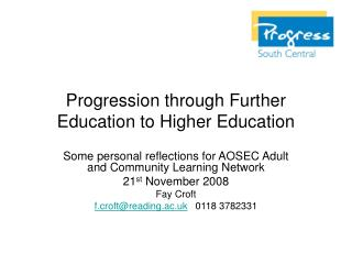 Progression through Further Education to Higher Education