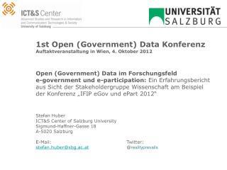 1st Open ( Government ) Data Konferenz Auftaktveranstaltung in Wien,  4. Oktober  2012