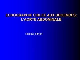 ECHOGRAPHIE CIBLEE AUX URGENCES: L'AORTE ABDOMINALE