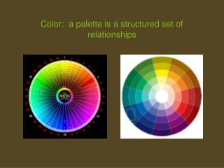 Color:  a palette is a structured set of relationships
