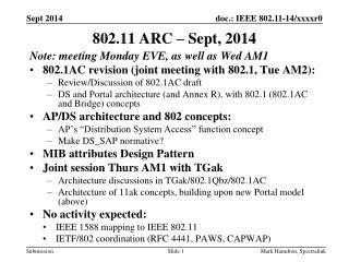 802.11 ARC – Sept, 2014