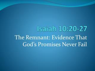 Isaiah 10:20-27