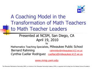 A Coaching Model in the Transformation of Math Teachers to Math Teacher Leaders
