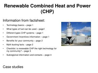 Renewable Combined Heat and Power (CHP)