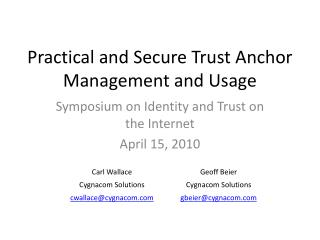 Practical and Secure Trust Anchor Management and Usage