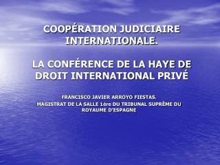 COOP� RATION JUDICIAIRE INTERNATIONALE .  LA CONF�RENCE DE LA HAYE DE DROIT INTERNATIONAL PRIV�