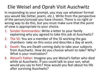 Elie Weisel  and Oprah Visit Auschwitz