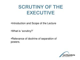 SCRUTINY OF THE EXECUTIVE