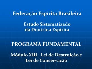 PROGRAMA FUNDAMENTAL Módulo XIII:  Lei de Destruição e Lei de Conservação