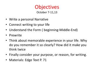 Objectives October 7-11,13