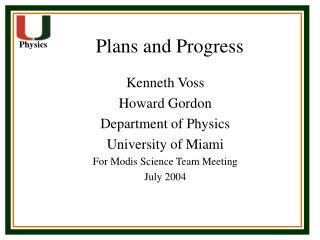 Plans and Progress