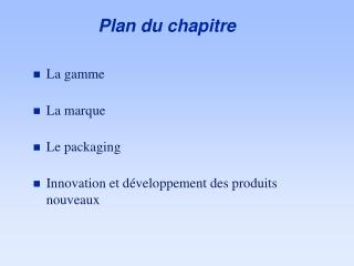 Plan du chapitre