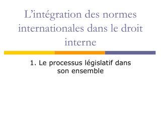 L'intégration des normes internationales dans le droit interne