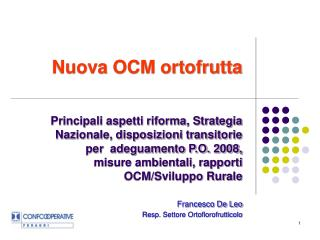 Nuova OCM ortofrutta