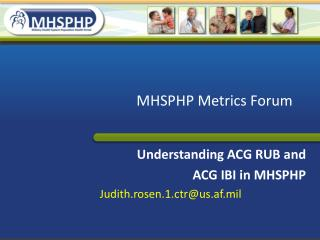 MHSPHP Metrics Forum