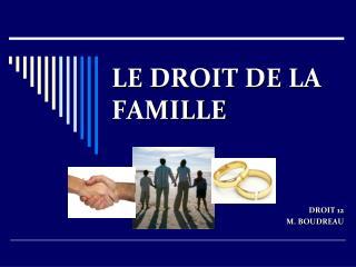 LE DROIT DE LA FAMILLE