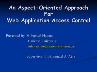 An Aspect-Oriented Approach For  Web Application Access Control