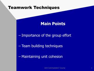 Teamwork Techniques