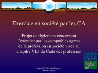 Exercice en société par les CA