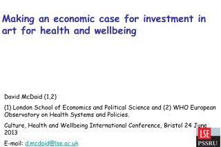 Making an economic case for investment in art for health and wellbeing