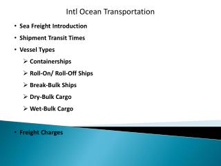 Intl Ocean Transportation