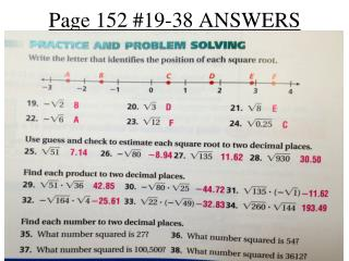 Page 152 #19-38 ANSWERS