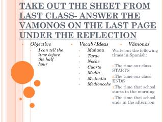 TAKE OUT THE SHEET FROM LAST CLASS- ANSWER THE VAMONOS ON THE LAST PAGE UNDER THE REFLECTION