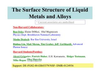 The Surface Structure of Liquid Metals and Alloys