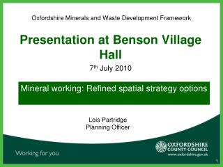 Oxfordshire Minerals and Waste Development Framework
