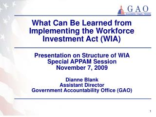 What Can Be Learned from Implementing the Workforce Investment Act (WIA)