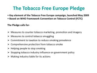 The Tobacco Free Europe Pledge