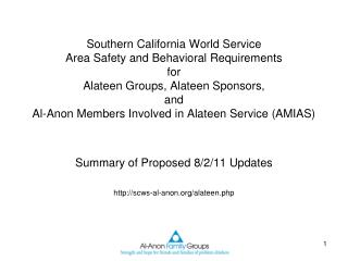 Summary of Proposed 8/2/11 Updates scws-al-anon/alateen.php