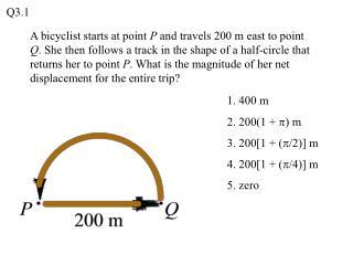 1. 400 m 2. 200(1 +  p ) m 3. 200[1 + ( p /2)] m 4. 200[1 + ( p /4)] m  5. zero