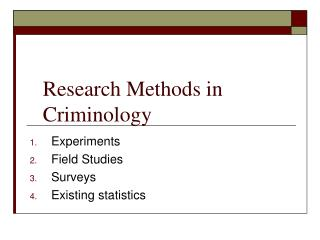 Research Methods in Criminology