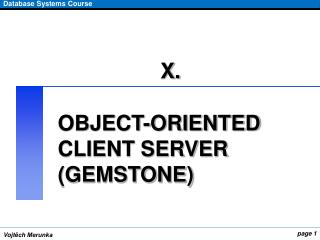 OBJECT-ORIENTED CLIENT SERVER (GEMSTONE)