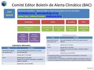 Comité Editor Boletín de Alerta Climático (BAC)