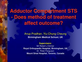 Adductor Compartment STS - Does method of treatment affect outcome?