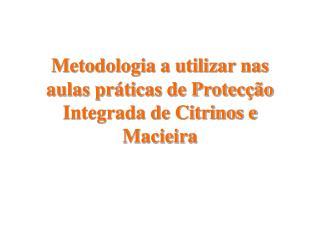 Metodologia a utilizar nas aulas pr ticas de Protec  o Integrada de Citrinos e Macieira