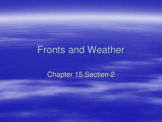 Fronts and Weather