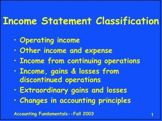 Income Statement Classification