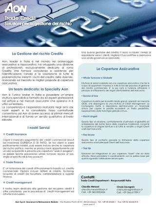 Trade Credit Soluzioni per la gestione del rischio