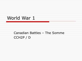 World War 1